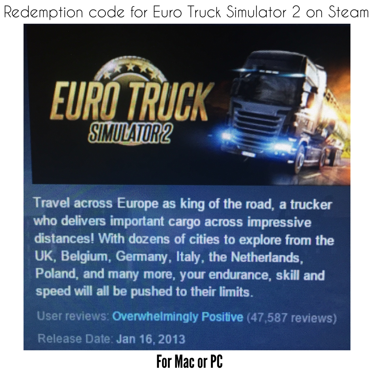 Redemption code for Euro Truck Simulator 2 on Steam