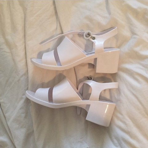 a4416b8a58d5 ON HOLD american apparel white classic jelly heels only worn - Depop