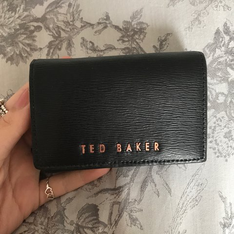 a2b5fdb9a RESERVED   small black leather ted baker purse rose gold a - Depop