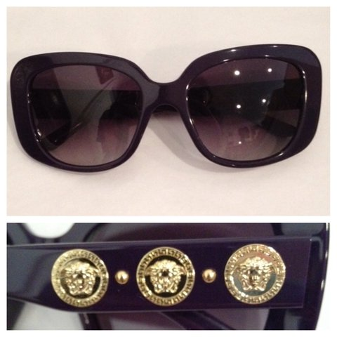 92717f09efab @scarlettsmithin. 4 years ago. New York, United States. Authentic VERSACE  dark purple sunglasses. Has gold medusa heads lining the sides.