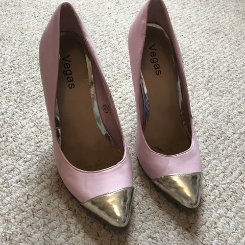 ea6006eeb1 Baby pink court shoes with metallic silver heel. Good Size 5 - Depop