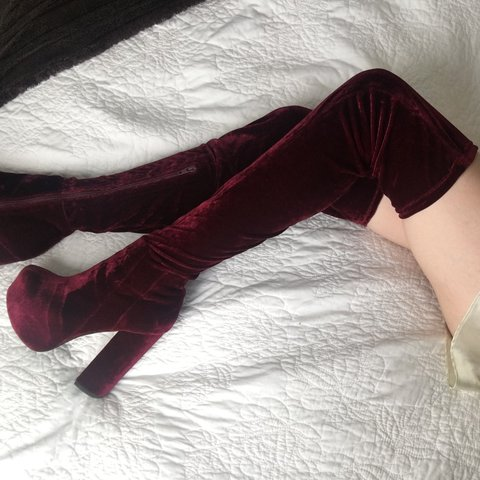 3163cde4b77 Jeffrey Campbell Bedelia Red Velvet Thigh High Boots I m me - Depop