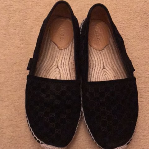 ed88f5401cd Gucci black suede espadrilles size 370 worn a couple times a - Depop