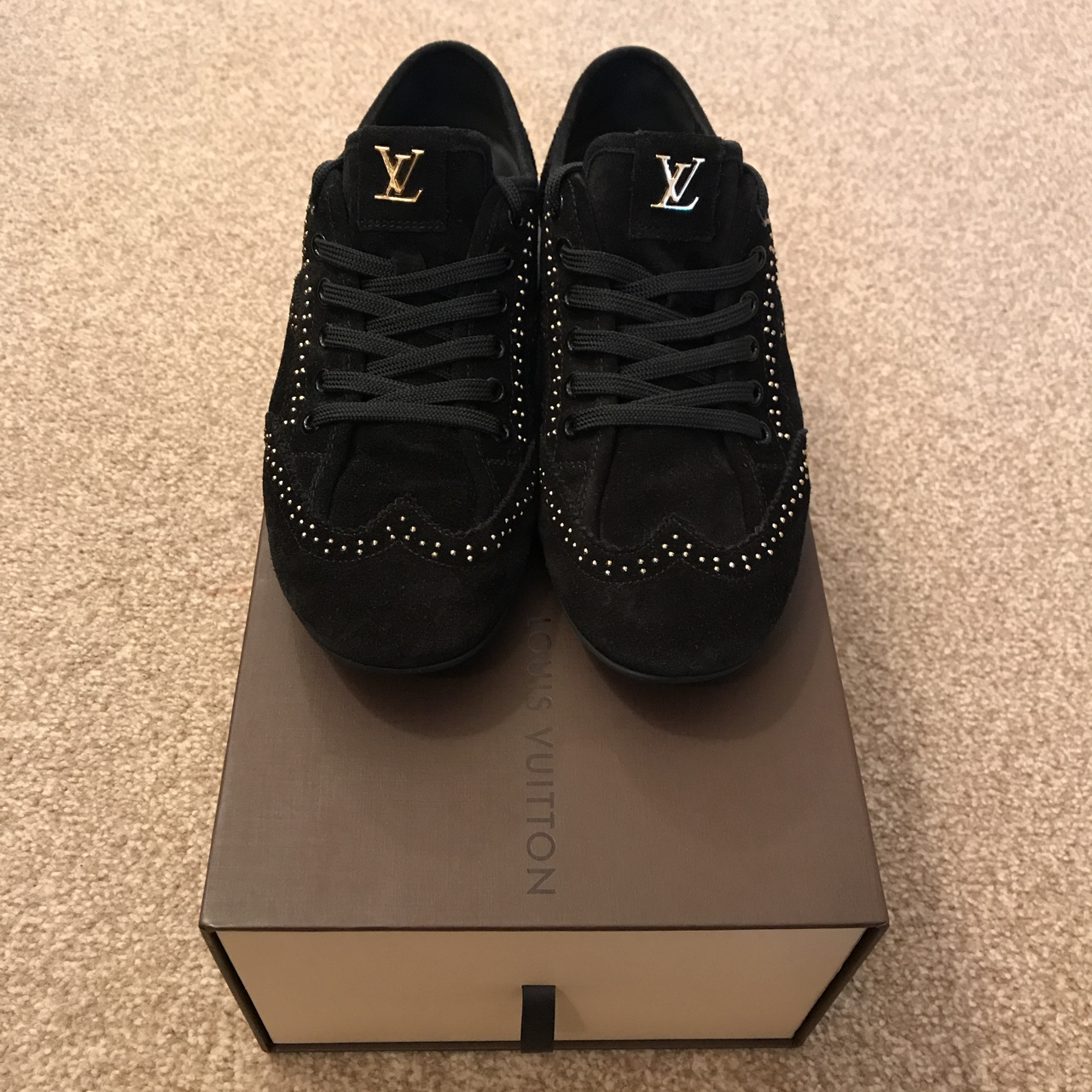 united kingdom save up to 80% wholesale sales Louis Vuitton women's black suede studded trainers... - Depop