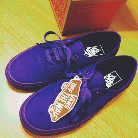 bf3750700a2594 BrandNew  NIB Purple Mono Vans Authentic. Mens 6 Womens on. - Depop