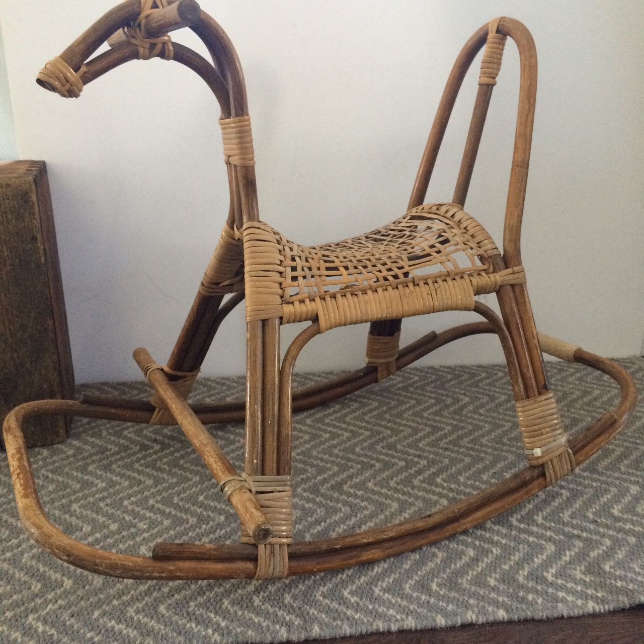 Pleasant Mid Century Modern Vintage Rocking Rattan Rocking Horse Gmtry Best Dining Table And Chair Ideas Images Gmtryco