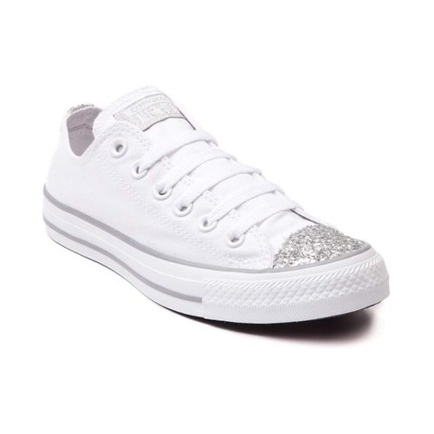 White converse with silver stone toe size 4 perfect - Depop 1b4131325