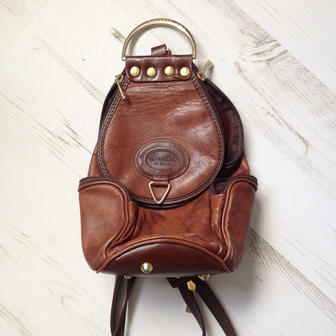 52ad1a420cf Vintage VALENTINO leather backpack. Tan brown. In... - Depop