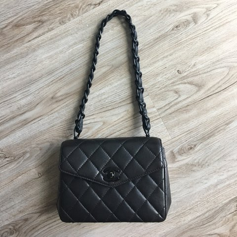 52819a6b61c285 Absolutely amazing and rare Chanel mini so black flap bag. 3 - Depop