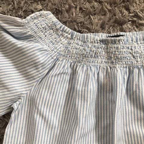 98f961bb647 primark blue and white stripe bardot top. size 4 but as the - Depop