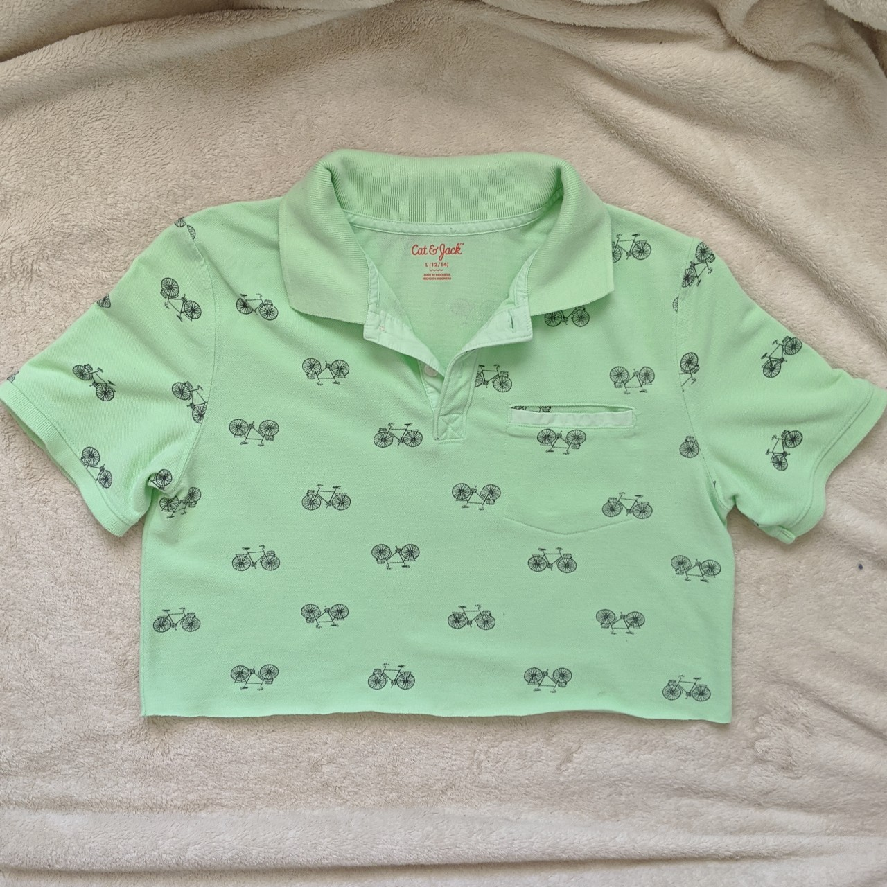 Pastel green polo cropped top with cute bicycle patterns🚲🚲in