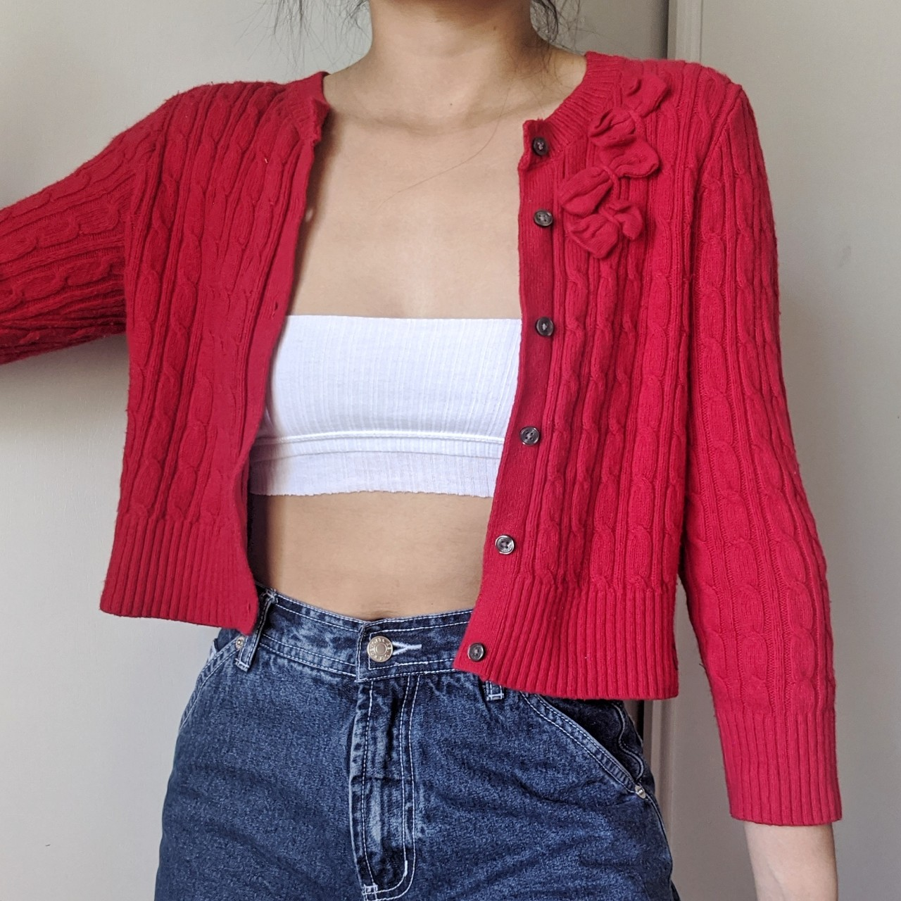 Gilly Hicks Sydney red knit button up cardigan with