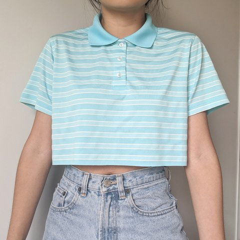 Y2k striped collar cropped  blue and white polo