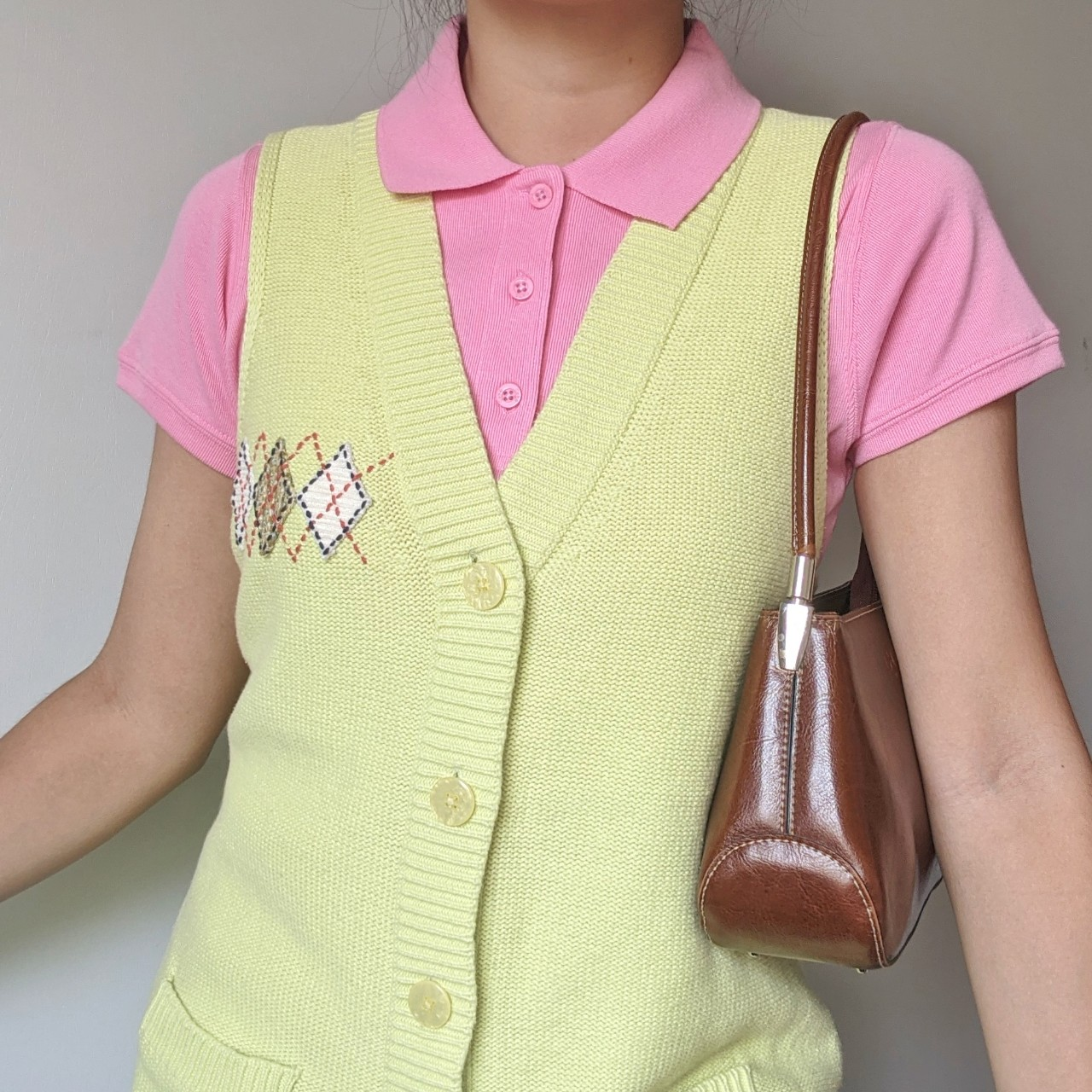 the cutest light pastel green knit  button up