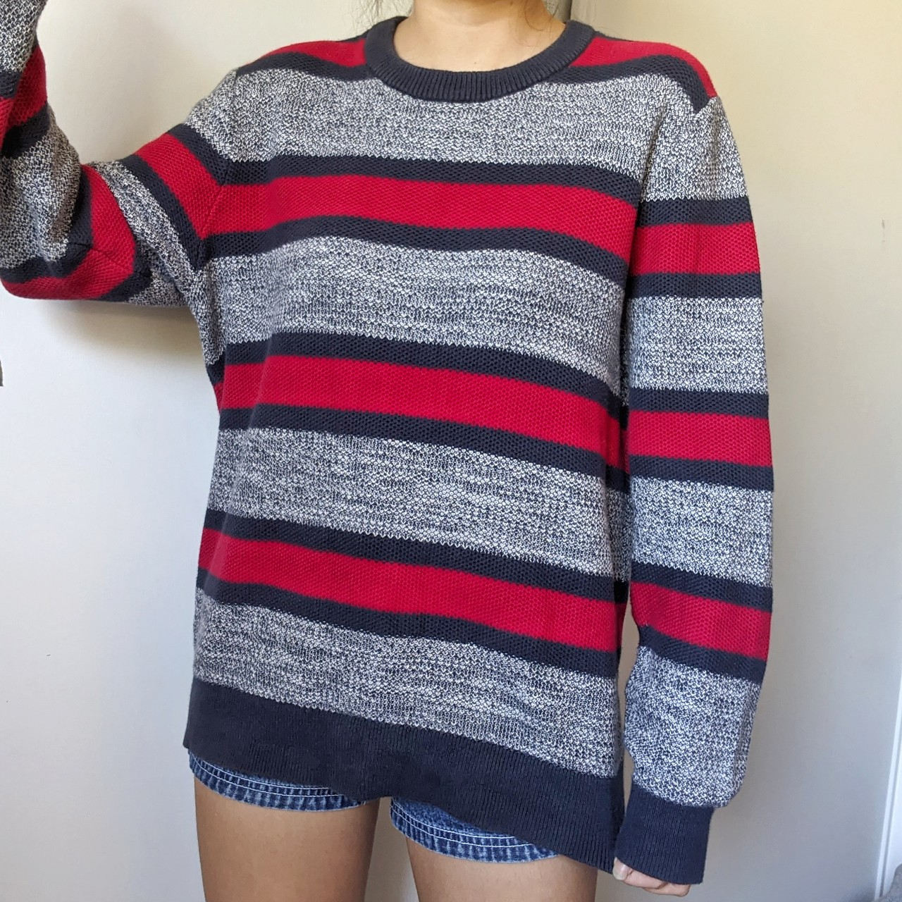 90s Tommy Hilfiger signature colors striped  chunky sweater