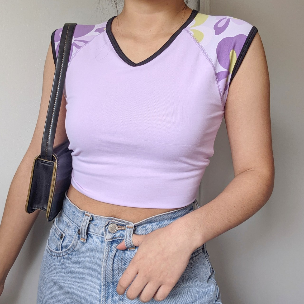 Y2k dri fit baseball style Pastel lilac tee with