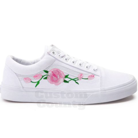 4778b3c077be Vans Rose Shoes Floral Vans-Custom Vans Rose Vans Old Skool - Depop