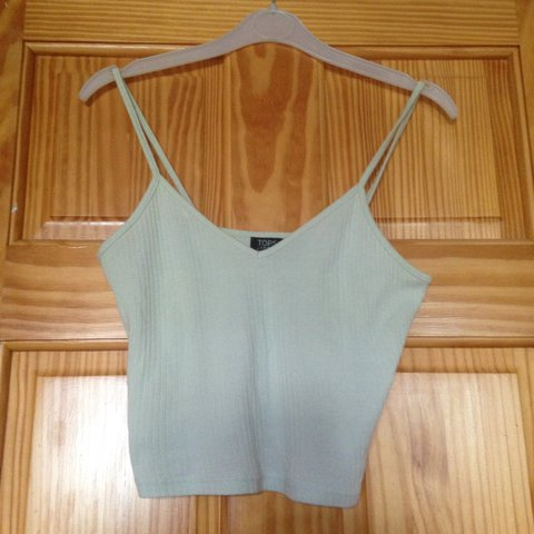 bd3815f38847a Adorable mint green ribbed strappy crop top from Topshop! So - Depop