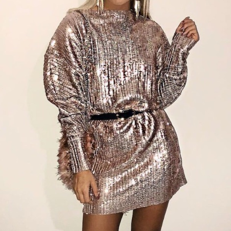 Zara Rose Gold Sequin Dress Brand New With Tags Depop