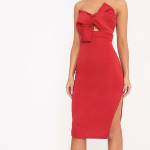 7e8be5ddaf0d @caoilfhinnd. 12 days ago. Claremorris, Ireland. Strapless red bow midi  dress with slit. Bodycon.