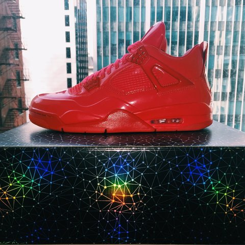 premium selection 99e72 490d6  shopzoe. 3 years ago. Los Angeles, CA, USA. Air Jordan 11Lab4, red patent  leather.