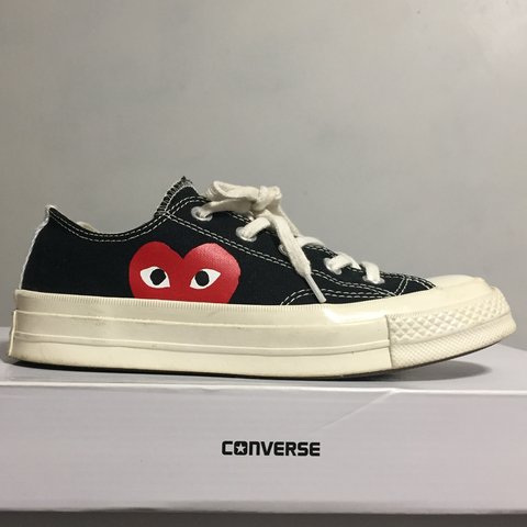 60a5aa413bc6 ❤ COMME DES GARCONS PLAY. CDG X CONVERSE LOW TOPS BLACK W US - Depop