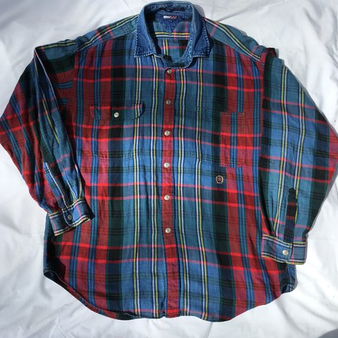 4251b9d6 @guccinay. last year. United States. Vintage Plaid Tommy Hilfiger Flannel  with denim ...