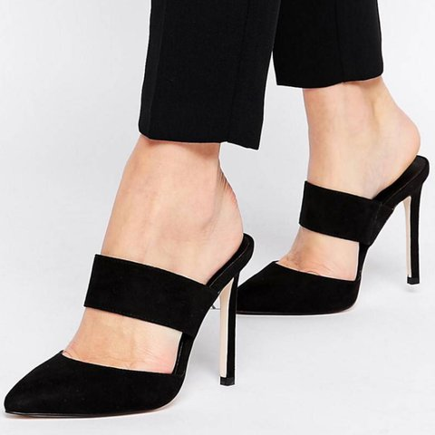 34722517c @fen327. last year. London, United Kingdom. ASOS Photogram pointed black mules  shoes heels ...