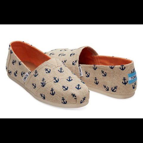 adf41353b5f Natural Anchors Embroidered Toms. Never been worn