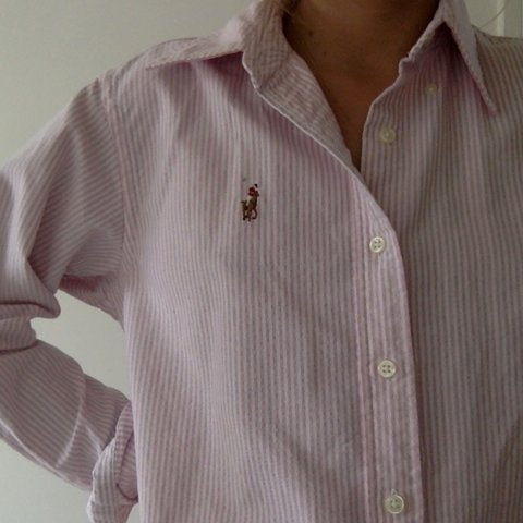 e4b8bf1f @allypally33. 2 years ago. London, United Kingdom. Pink And White striped polo  Ralph Lauren button up oxford shirt ...