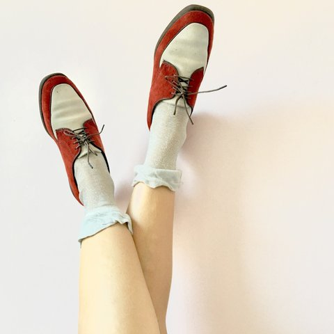 b8d541423fb @luxuryjones. last year. Los Angeles, United States. These vintage rust and  white suede Hush Puppy loafers ...