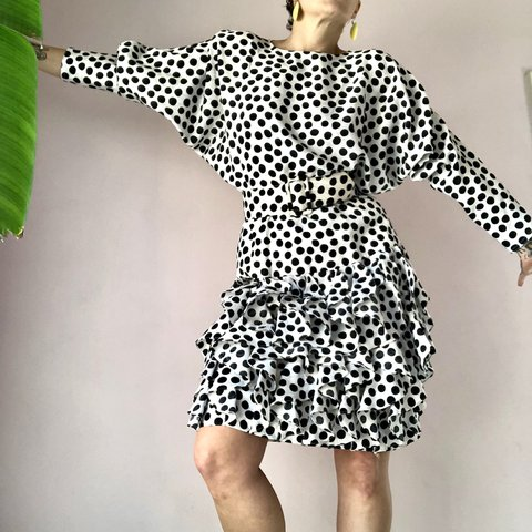 603945860640 Vintage 80 s outrageous polka dot ruffle-tastic batwing It s - Depop