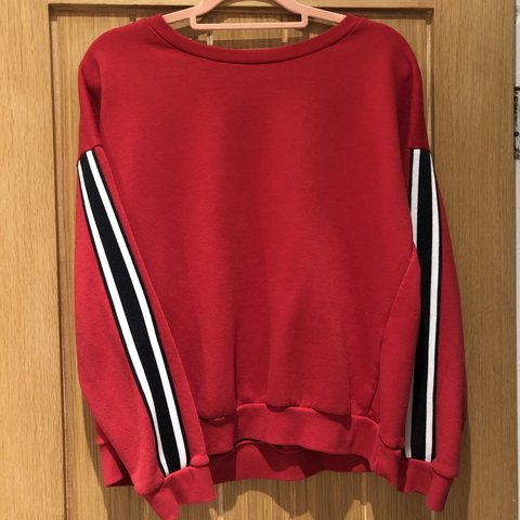 75d8a3c5e6 Semi cropped red jumper with black and white stripes on the - Depop