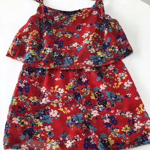 050705ebec Red floral playsuit with floaty layer size 10 New look Very - Depop