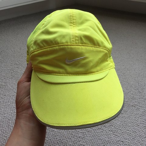 2dd52f8651a Nike dri-fit running hat   neon yellow   adjustable strap - Depop