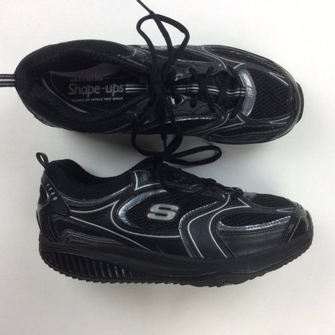 773c9168 BLACK SKECHERS SHAPE UPS THese are ADORABLE! Cute chunky a - Depop