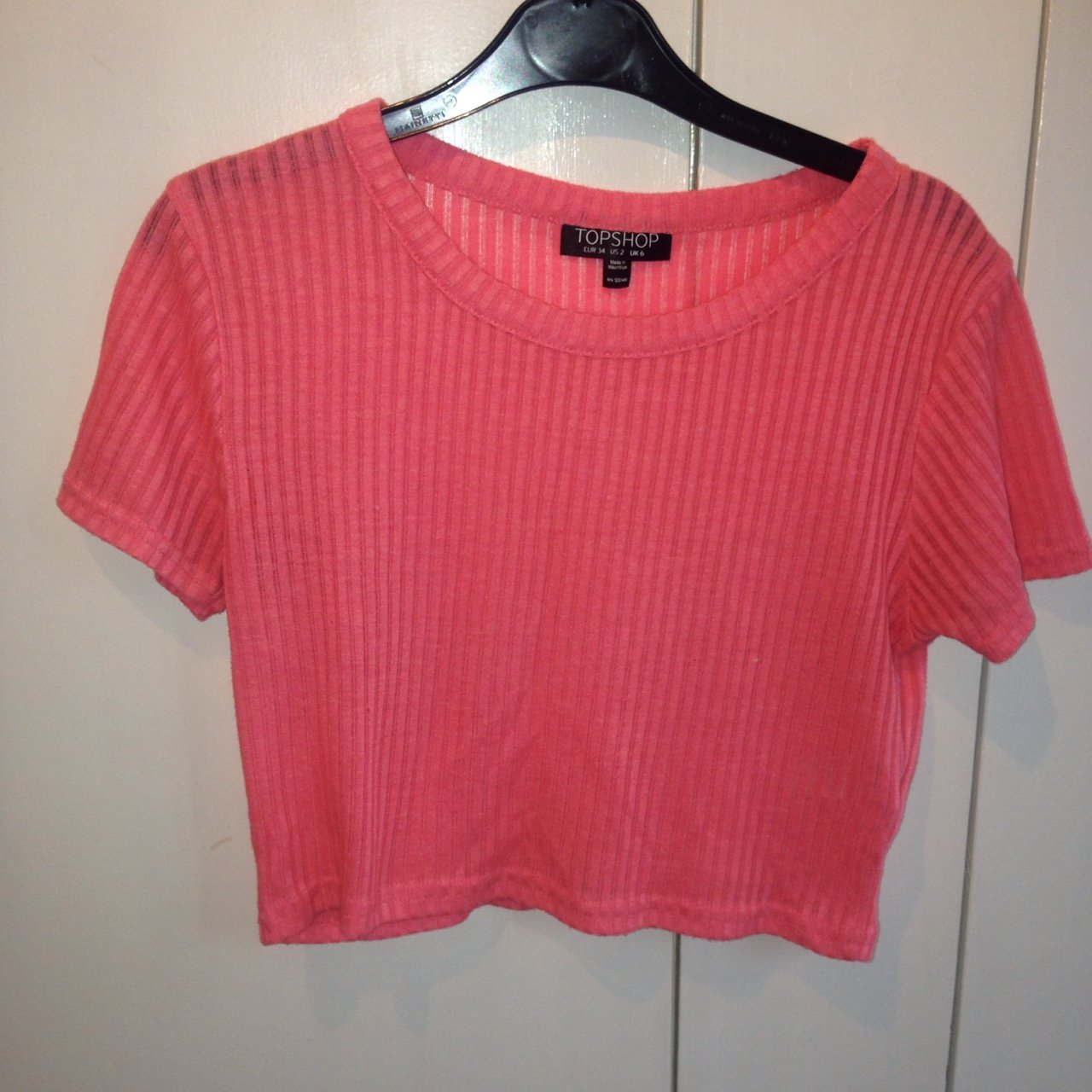 57613e19526 Pink ribbed crop top from topshop // size 6 but would fit an - Depop