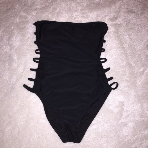 Boob Tube Strapless Swimming Costume Side Slit Cut Out Depop