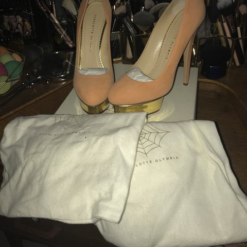 bc5d07df730d Charlotte Olympia dolly gold island platform heels size 6