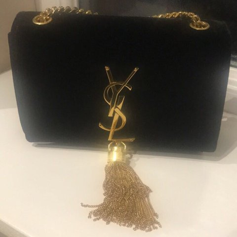 c8b18f0720 Saint Laurent Monogram Small Velvet Chain Bag with Tassel in - Depop