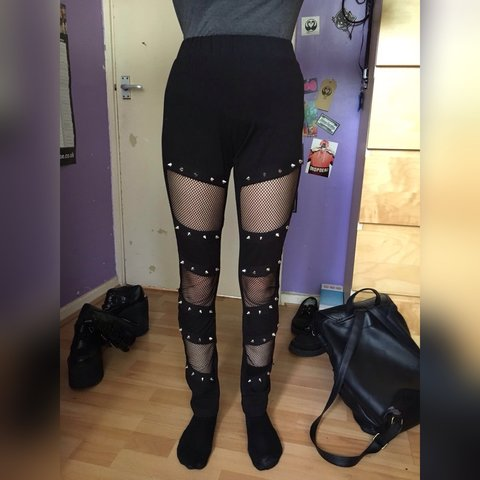 ea38ab014 HEARTLESS  Spiked Fishnet style leggings (go to picture 3 a - Depop