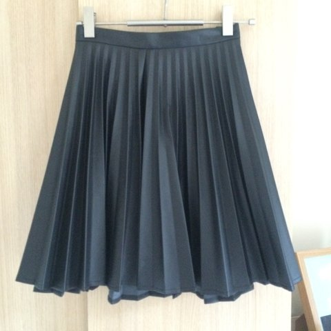 6317c6297d @holly3101. 4 years ago. Belfast, Belfast, UK. Next pleated black faux  leather skirt.