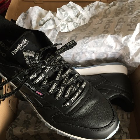200ba2a00ab Palace X Reebok Classic Leather. Black White Ice 9.5 10 only - Depop