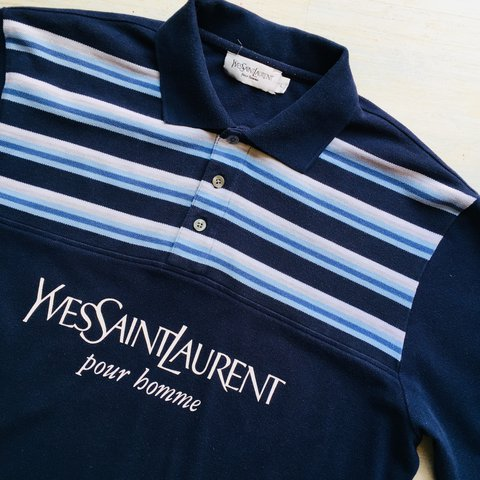 0f228491e0 @unicorn_boutique. last year. Stone, United Kingdom. YSL Yves Saint Laurent  Pour Homme Blue Striped Polo T ...