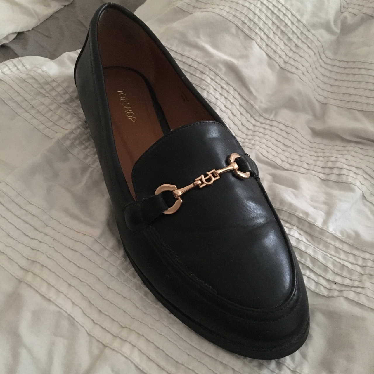 TOPSHOP black loafers with gold bar