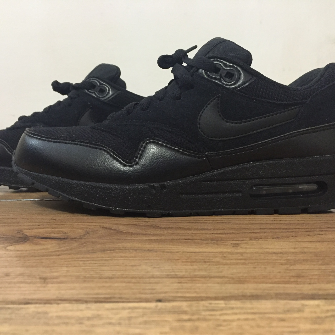 Nike Air Max 1 Essential All Black Size 6 Leather Depop