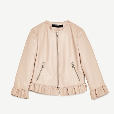0aa7d62c06 @heathermorgan. 2 years ago. Oxford, United Kingdom. Zara nude leather  effect frill jacket!!