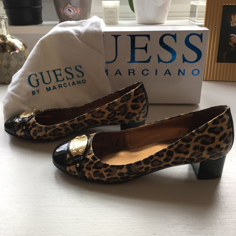 55e62913803b @emmajiv. 8 months ago. Sunningdale, United Kingdom. GUESS By Marciano  leopard print patent shoes. Only worn a couple of times ...