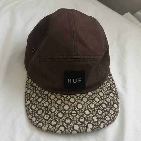 4d13f03da2d9a HUF brown 5 panel hat cap with adjustable strap super and in - Depop