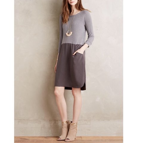 df16274996c0 @girlpoe. last year. Philadelphia, United States. Anthropologie Amadi  Women's Gray Colorblock Shift Dress.